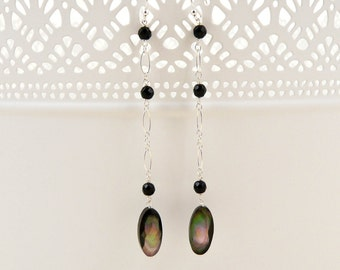 Faceted Onyx And Black Mother Of Pearl Drop Earrings
