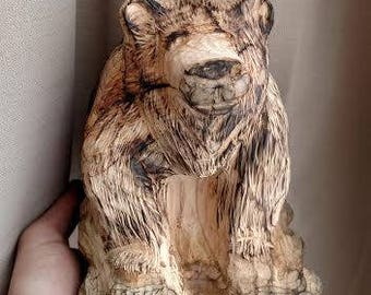 Sitting bear wood carving, hand carved, lumber art, Montana, bears, wildlife, unique wood gift