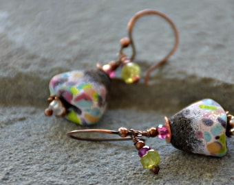 mixed media art jewelry bohemian assemblage lampwork glass peridot garnet moonstone in bloom earrings