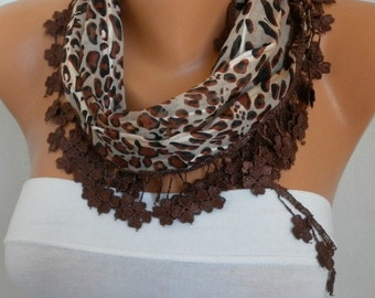 Brown Leopard Cotton Scarf, Summer Shawl,Wedding Scarf, Cowl Gift Ideas For Her Women Fashion Accessories best selling item scarf