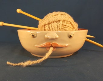 Yarn bowl with face,Yarn Bowl, Face Yarn Bowl, Unique Yarn Bowl with Face, Handmade Pottery