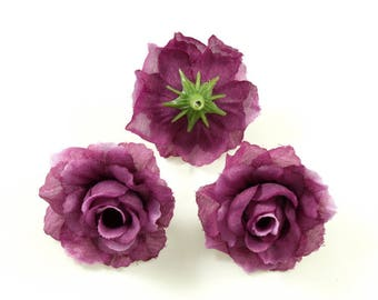 Set of 3 artificial flowers without stem 4cm - plum