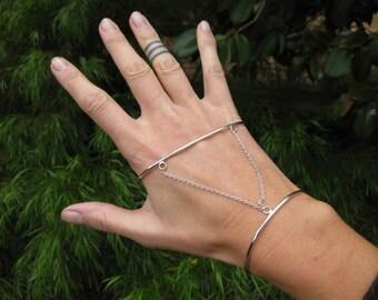 Sterling Silver Hand Cuff / Palm Bangle