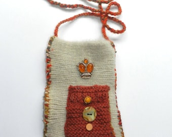 Hand Knit Cream and Orange Felt Shoulder Bag - Queen for a Day