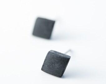 Black mens earrings for men, black stud earrings, black earrings, casual earrings, guys jewelry, ceramic earrings, square earrings,