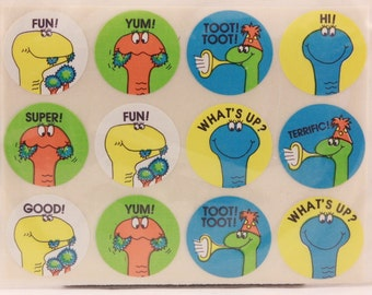 Vintage Hallmark Dinosaur Encouragement Stickers. 4 Sheets for sleeved Package.