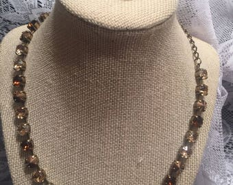 8mm Brown Swarovski Necklace and Earring set