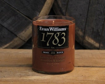 Upcycled Evan Williams 1783 Candle - Recycled Bourbon Bottle Candle Handmade Soy Candle 750ml Recycled Father's Day Gift