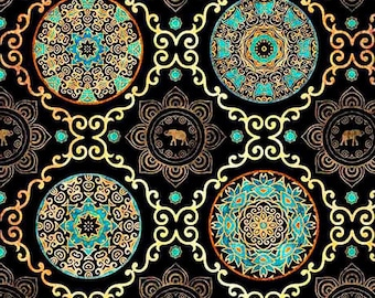 Black medallion fabric, Quilting fabric, cotton fabric, quilting treasures, elephant fabric, circle pattern fabric, fabric by the metre