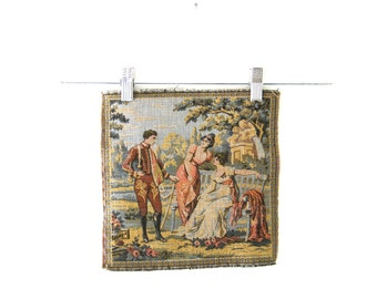 Tapestry Country Scene Woven Square Made in France