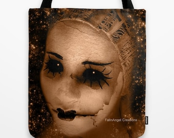 Gothic Tote Bag, Broken Pierrot, 3 Sizes Available