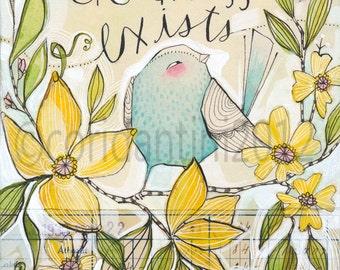 bird art - watercolor - blue bird - painting - illustration - faith - joy - happiness 8 x 8 archival, limited edition print by cori dantini