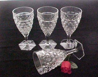 Vintage Fostoria American 10 Oz Water Goblet w/ Hex Foot, Crystal Clear Elegant Depression Era Glassware With Pressed Cube Pattern