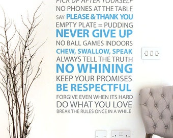 Hallway decal House rules hallway table decor decal for the perfect home   75cm x 150cm / 29 x 59 inches