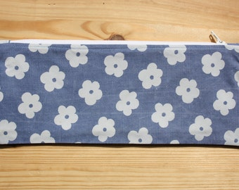 Blue and White Pencil Case- White Zip & Lining