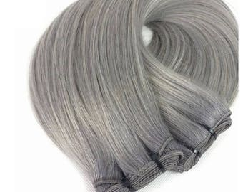 Double Drawn 8A Remy Human Hair Extensions Full Head Weft Weave Bundles 100g Granny Grey Hot Colour Silver 20""