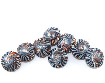 Artistic swirl lentil beads, focal beads in stripes pattern, elegant beads in black, white, gray and orange, Jewelry supplies, set of 8