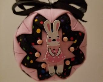 Pink and Black folded fabric handmade ornament with bunny decoration
