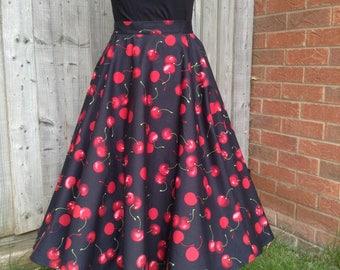 Full circle, retro vintage style, UK size 16 handmade swing skirt with cherries, rockabilly, rock n roll, fifties, reenactment skirt
