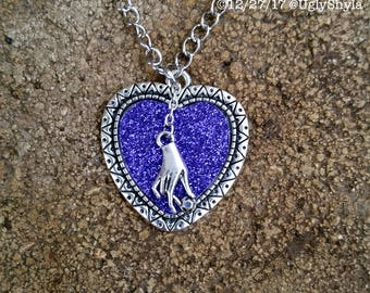 Gothic Heart Necklace - Purple Glitter Heart with Seance Hand by Ugly Shyla - Victorian Gothic Style - Pastel Goth Jewelry - Anti Valentines