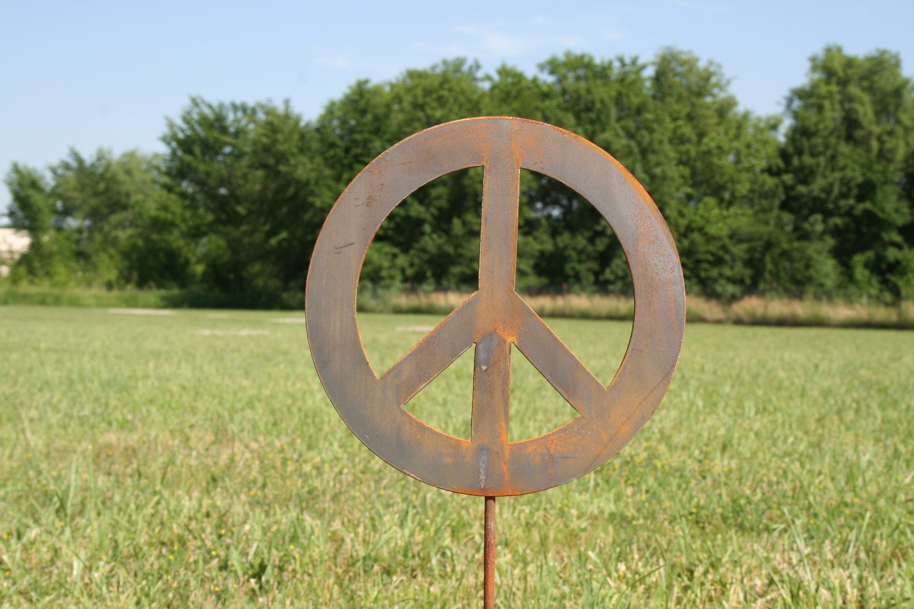 Metal Peace Sign Garden Stake, yard sign, peace sign, peace stake ...