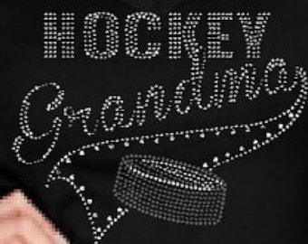 Bling Hockey Grandma Custom Rhinestone Bedazzled ***Transfer Only***  NEW ITEM!!