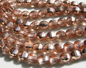 Peach Mirror Finish 10mm Fire Polish Beads   25