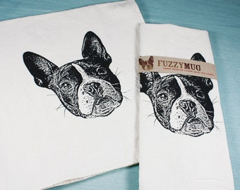Boston Terrier Tea Towel in Black - Hand Printed Flour Sack Tea Towel (Unbleached Cotton)