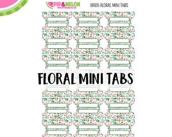 Floral MINI Tab Stickers  | 18 Kiss-Cut Stickers | Planner Tabs, Midori Tabs, Bible Tabs, Divider Tabs, War Binder Tabs | IB160