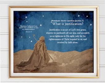 Justification Westminster Catechism Quote Digital Collage Dore Christian Art Print By Faith Alone Grace Adoption Sanctification Romans