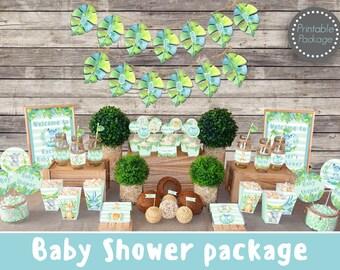 Safari Jungle Baby shower decorations printable, Boy Baby shower package Jungle animal Baby shower, Safari Baby shower, Baby boy shower