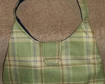 Handmade checked green wool handbag