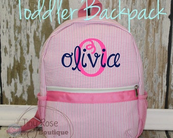 Toddler Girl Backpack - Seersucker Booksack - Personalized School Bag, Book Bag, Mini Backpack