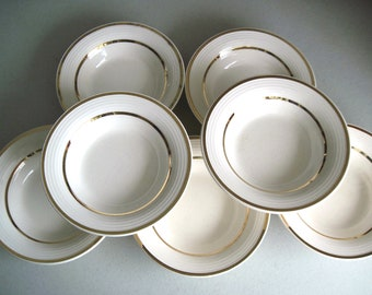 Vintage China Fruit Bowls, Vintage Dessert Bowls, American Limoges, 1940s, Hollywood Fine China, White and Gold Bowls, Vintage Dinnerware