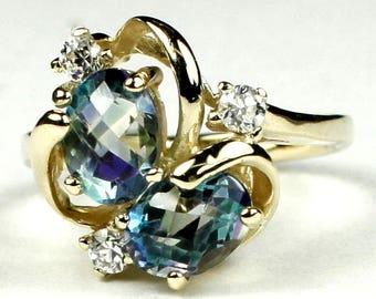 Neptune Garden Topaz, 18KY Gold Ring, R016