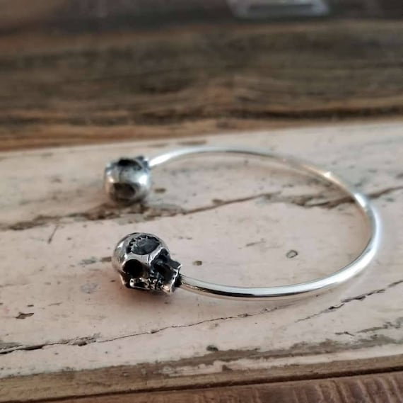 Silver Skull Bracelet, Adjustable Cuff, Gothic, Bangle, Biker Jewelry, Alternative, Witchy, Goth Fashion, Steampunk, Halloween, Skeleton