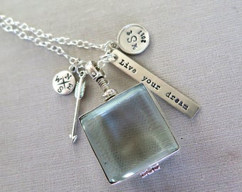Graduation Gift College Graduation Gift for Her Class Of 2018 Compass Necklace Arrow Necklace Glass Locket Personalized  Sterling Silver