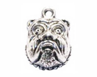 BULK 40 Silver Bulldog Charm Dog Pendant 18x13mm by TIJC SP0307B