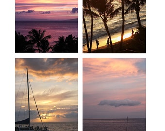 Hawaiian Sunset Photo Note Cards Set of 8