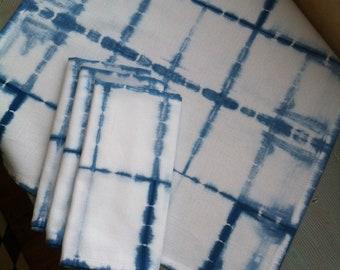 Set of four Shibori cotton dinner napkins indigo hand dyed windowpane design