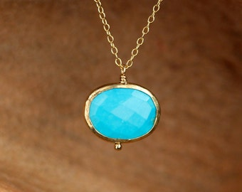 Gold bezel gemstone necklace - turquoise oval necklace - gold oval necklace - a gold lined turquoise on a 14k gold vermeil chain