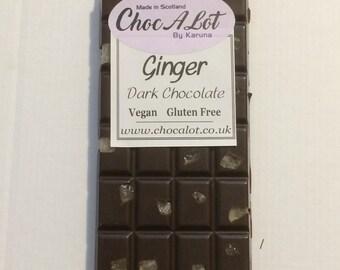 Ginger Dark Belgian Chocolate Bar.  Smooth & rich chocolate.  Vegan, Gluten free, Dairy free