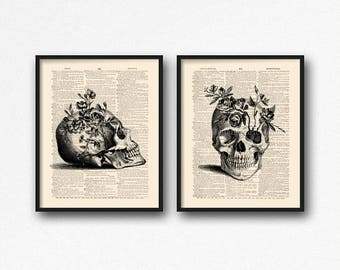 Floral Skull Art, Dictionary Skull, Mystery Poster Pack, Skull Print Set, Sugar Skull Kitchen, Coworker Gift Set, Geeky Women Gift, Cool S32