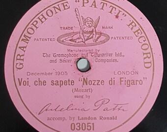"""Adelina Patti: """"Voi che sapete""""  78rpm (1905) 12"""""""