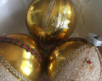 Antique Christmas Bulbs ~ Gold Wire Wrapped Bulb ~ Old Gold Glass Christmas Ornaments ~ Embellished ~ Western Germany