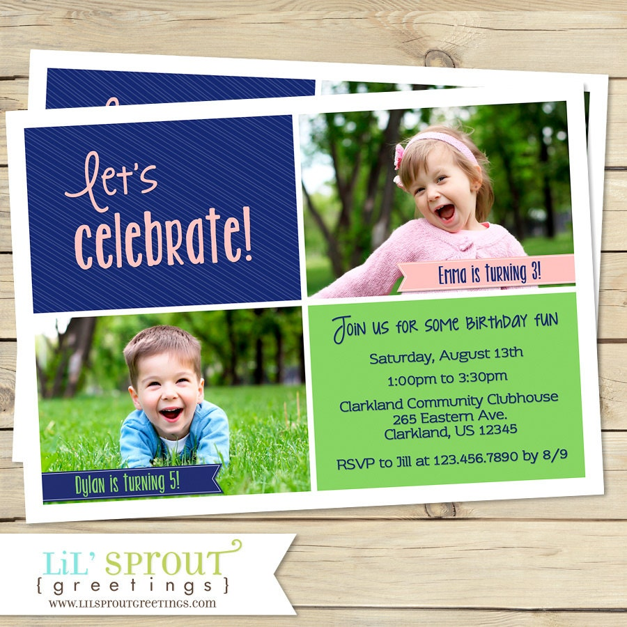 Joint Birthday Party Invitation Sibling Birthday Invitation