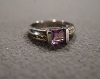 Vintage Sterling Silver Band Ring Square Bezel Set Amethyst 6 Round Diamond,Size 8