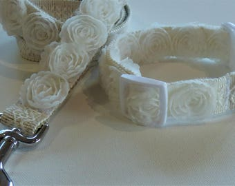 Elegant Tulle Rosette Matching Wedding Dog Collar & Leash