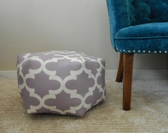 Purple Pouf Ottoman, Bohemian Nursery decor, Small Pouf