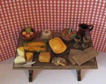 Dollhouse Tudor table, filled table, Medieval food, Dollhouse table, Tudor foods, distressed table, A dollhouse item, twelfth scale